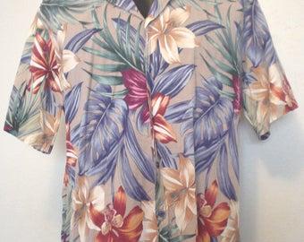 Vintage Mens Hawaiian Shirt 90s Hilo Hattie Island Fashion Campshirt Beach Clothing Summer Vacation Resort Mens Camp Shirt Size XL EC BIN