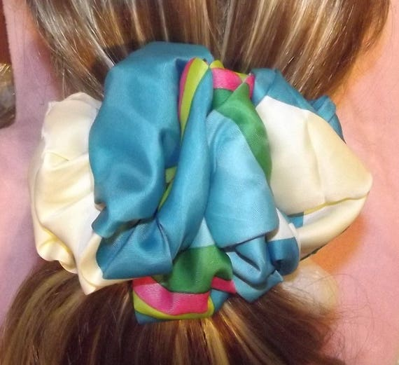 Becky Bows ~OOAK ROSETTE Barrette Hand crafted giant huge Scarf BIG hair bow Women or Girls turquoise blue rainbow
