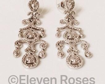 Diamond  Long Dangle Chandelier Earrings 925 Sterling Silver Free Shipping