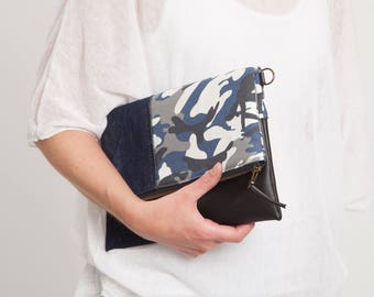 Camouflage clutch bag, fabric clutch, denim combination with faux leather, folded bag, hand bag,long handle clutch,women's bag, women's gift