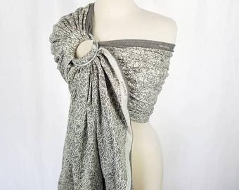 Organic Cotton Wrap Conversion Ring Sling - DIDYMOS Fadenwerk Natur - Newborn Infant Baby Toddler Carrier - Hybrid Gathered Pleated Shoulder