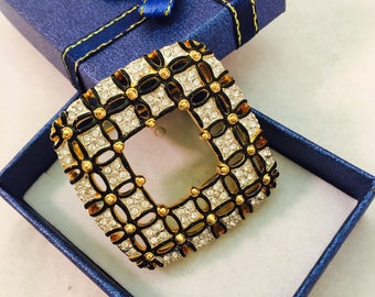 Vintage Gold, Black, and Rhinestone Woven Appearance Square Brooch