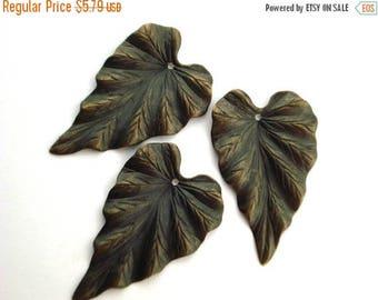 Summer Sale Vintaj Woodland Leaf Brass Pendant Jewelry Component Embellishment Qty 2