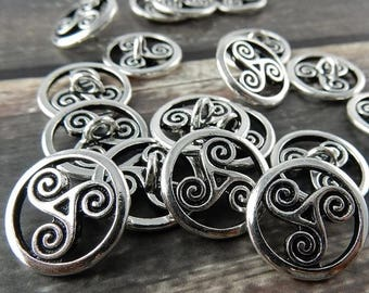 Summer Sale OPEN TRISKELE Buttons, TierraCast CELTIC Buttons, 16mm Qty 4 to 20 Antique Silver, Round Tri Swirl Metal Buttons, Leather Wrap C