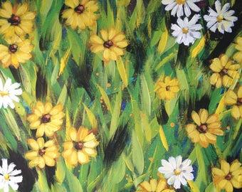 Daisies and Black Eyed Susans Original Acrylic