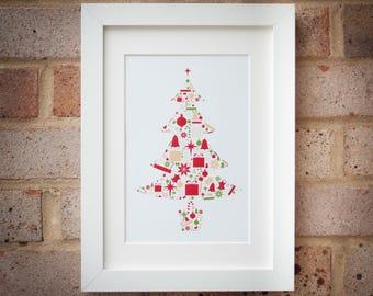 Christmas Tree - Traditional Colours - Giclée Art Print