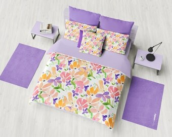 Flower Pattern Duvet Cover or Comforter, Pink and orange blooms, bedding, feminine spring  beautiful, bedroom decor