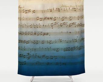 Handwritten Sheet Music Shower Curtain -  blue ombre music fabric curtain Mozart, musician, composer, home bathroom