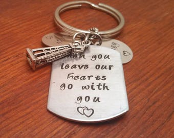 Hand stamped personalized hearts go with you key chain, Oilfield gift, Roughneck, Oilfield life, when you leave, oil field, Father's day