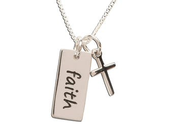 "Sterling Silver ""Faith"" Charm Necklace with a Dainty Cross from our Silver Stories Collection and Communion Gift (BCN-Faith)"