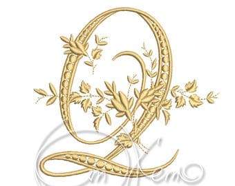 MACHINE EMBROIDERY DESIGN - Victorian Letter Q embroidery, Victorian alphabet embroidery, Antique alphabet embroidery, Monogram embroidery