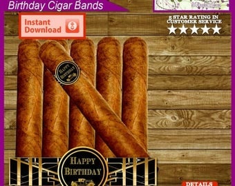 Great Gatsby Happy Birthday Party Favor Cigar Bands, Cigar Labels - Printable Digital File - Instant Download