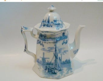 ON SALE NOW Delph Blue and White Transferware Teapot by Winkle & Co. England c1893