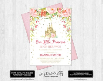 Princess Baby Shower Invitation Pink Floral Castle Fairytale Invites Gold and Pink Flowers Girls Digital File or Printed Invitations
