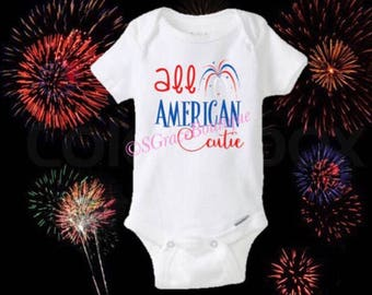 4th of July outfit, Fourth of July shirt, baby boy, boy, girl, toddler, infant, 4th of july outfit, my 1st fourth, all american cutie