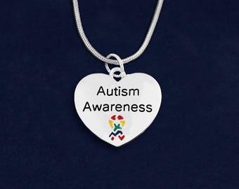 12 Autism Awareness Heart Necklaces (12 Necklaces) (N-129-2AU)