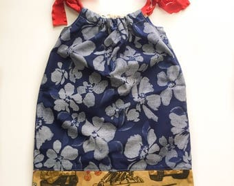 Marine & Blue Hawaiian Pillow Case Dress - Baby Girl Marine - Welcome Home Outfit - Marine Girls Dress - 3T Girls Patriotic Ceremony Dress