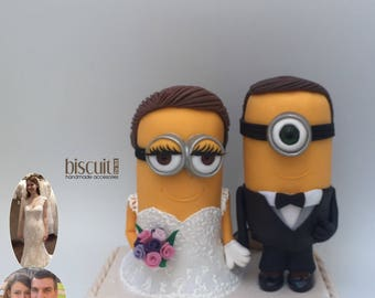 Minions Wedding Cake topper (Custom) Cold Porcelain, Clay