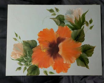 Vintage Floral Hibiscus Flower Flowers Painting Art Artist Signed Original