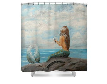 mermaid shower curtain, beautiful bathroom mermaid curtain, mermaid bathroom accessories, Original art by Nancy Quiaoit.