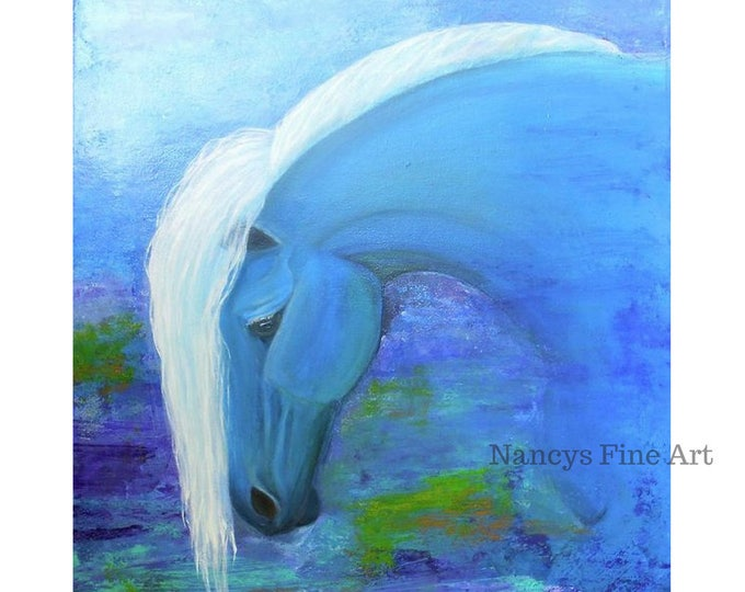 horse painting, horse artwork,  colorful horse art, Original horse art print done by Nancy Quiaoit, horses, fantasy, colorful, NancyQart