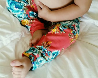 3-6mos Pink and Turquoise Floral Print RTS / Bright Pink Floral Leggings / Playtime Photos Spring Summer / Stretch Pants / Ready to Ship