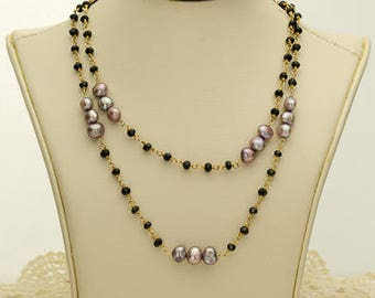 Mauve and Black Pearl Necklace 60.75ct (B83)