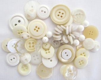 set of 50 buttons, white and Ecru in any size