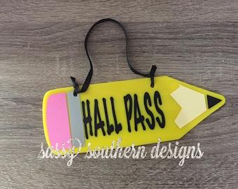 Teacher Hall Pass-Pencil Hall Pass-Pencil Decor-Classroom Gift-Teacher Gift-Pencil Hanger-Teacher Present-Classroom Decor-End of Year Gift