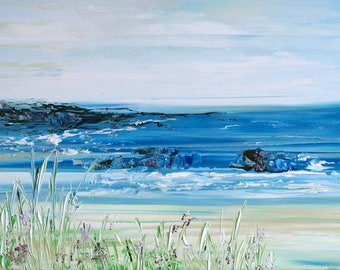 Original Seascape Large Abstract Modern Blue Textured Acrylic Palette Knife Painting on Box Canvas, Ready to Hang canvas 100x40cm
