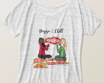 Pizza & Chill Blonde and Brunette T-Shirt