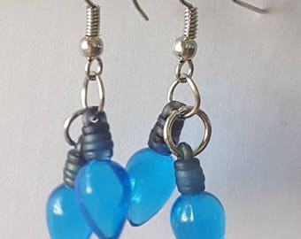 Blue Christmas light bulb earrrings - Christmas earring - light bulb - blue earring - blue Christmas - Christmas