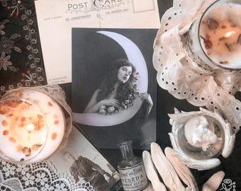 Vintage Stylized Retro Victorian Edwardian Postcard Moon Stars, Set of 3 Postcards