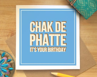 Chak De Phatte It's Your Birthday, Birthday Card, Indian Birthday Card, Retro Design, Birthday Celebrations, Desi Card, Congratulations.