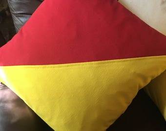 "Nautical flag pillow ""O"" or ""Oscar"" and ""Man Overboard"""