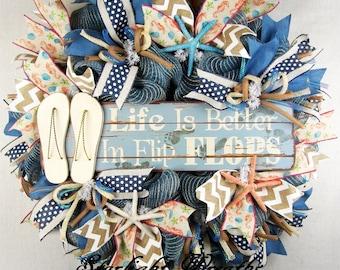 Life Is Better In Flip Flops Mesh Wreath, Flip Flop Wreath, Summer Decor, Summer Mesh Wreath, Beach Wreath