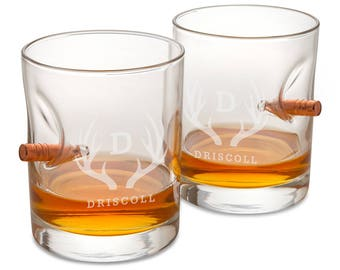Personalized Bulletproof Lowball Whiskey Glass - Set of 2 - Groomsmen Gifts - Gifts for Him - Gifts for Men - Set of Whiskey Glasses - RO169