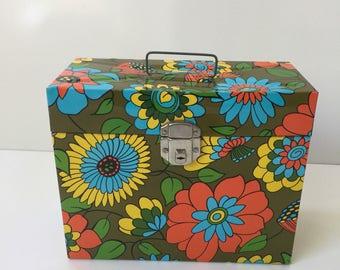 Vintage Mod File Storage Box Flower Power 1970s