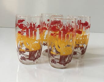 Vintage Mexican Themed Glass Tumblers Set of Four