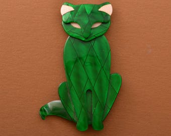 Plastic Lea Stein Cat Brooch (954v42)