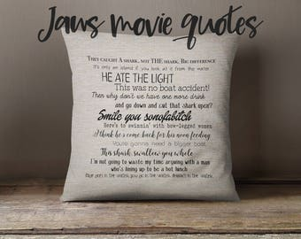 Jaws movie quote pillow cover 18x18inch - movie quotes - movies - washable pillow cover - fiber arts - home textiles - eco inks