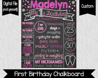 Girl First Birthday Chalkboard Sign - Digital - Pink and Silver - Glitter First Birthday - Silver and Pink Birthday Sign - 1st Birthday Sign