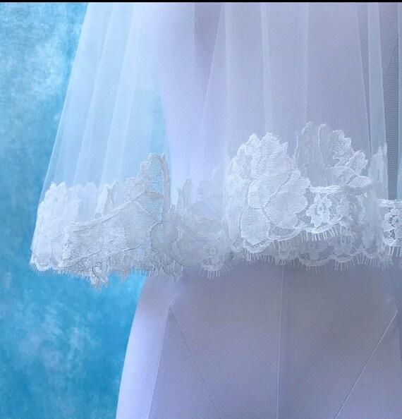 Lace Wedding Veil, Drop Veil, Lace Veil, Short Veil, Bridal Veil, Circle Veil - FOREVER KISS
