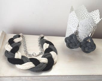 Black and white braid necklace + mouse Grey knot earrings
