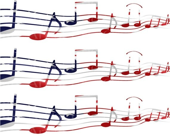 Patriotic Musical Notes Band Birthday - Edible Cake Side Toppers- Decorate The Sides of Your Cake! - D22858