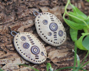 A pair of stoneware dangles RUSTIC EARTHY NATURAL - handmade jewelry components