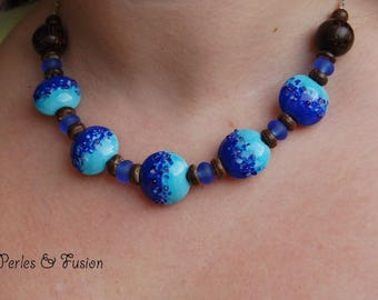 Lampwork Glass and wood beads Necklace * blue coconut * shades of blue/lapis