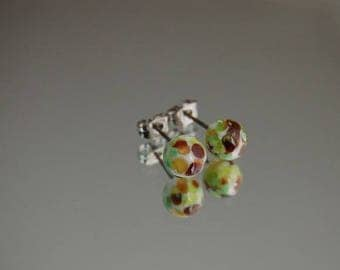 To order - glass Stud Earrings * art * tones nature Brown/green - Lampwork Glass