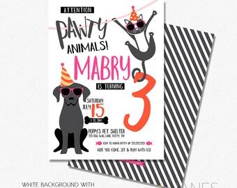 "Dog Cat Pawty Birthday Invitation | Pet Birthday Invitation | Party Animal Invite | Digital Printable Invite - 5X7 with *bonus reverse side"""