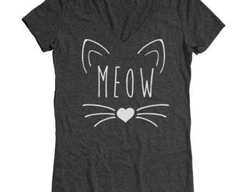 Meow Heart Cute Kitten Cat Outfit Tee Top Women's Tri-Blend V-Neck T-Shirt DT1573